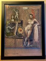 """Kristófi Krisztics Andor 33.5x46 cm-es """"Műteremben""""című képe  pasztell csiszolóvászon"""