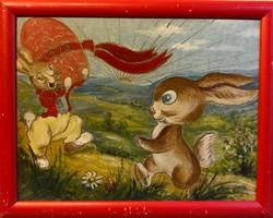 """Húsvéti nyuszik"" 1973.   26,5x35 cm-es olaj, farost retro"