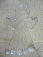 Üveg angyal gyertyatartó
