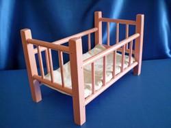 Retro fa babaágy fa ágy játék babához 33 cm hosszú 1960-as évekből
