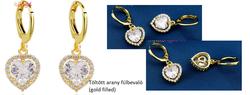 Töltött arany fülbevaló fehér szív alakú kristállyal(gold filled)