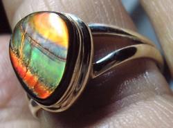 925 ezüst gyűrű 19,3 mm, új, indiai műhely, ammolit