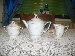 Zsolnay teás készlet három darabja - manófüles, aranyozott