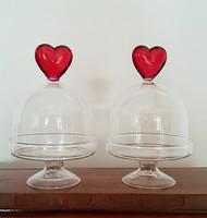 Vintage talpas üvegbura szív alakú foganytúval 2 db
