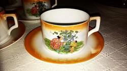 Antik Zsolnay jelenetes teás csésze + alátét kis tányér
