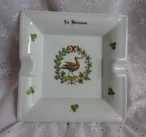 Limoges-i porcelán hamutartó szalonka mintával - Limoges- Porcelaine d'Auteuil