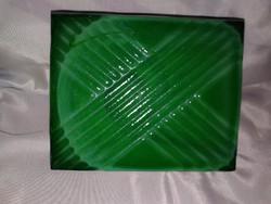Malachit színű antik cseh üveg doboz, 1930 art deco zöld ékszeres