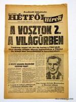 1961 augusztus 6  /  HÉTFŐI HÍREK  /  RÉGI EREDETI MAGYAR ÚJSÁG Szs.:  3938