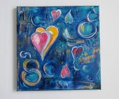***Színes szívek-egyedi festmény újdonság***