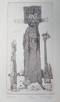 Szemethy Imre rézkarc 41x30 cm lapméret
