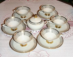 6 teáscsésze kistányérral, cukortartóval