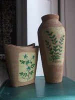 Cserép-kaspó szett növényi motívummal 2 db együtt