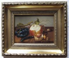 """LEÁRAZTAM! Kocsis Lénárd """"Őszi gyümölcsök"""" c. olajfestménye gyönyörűen keretezve, ingyen postával"""