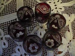 6 db antik csiszolt kristály boros talpas pohár