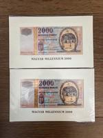Milleniumi 2000 ft-os Bontatlan, sorszámkövető 2db!