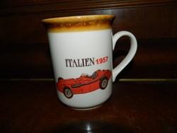 STAFFORDSHIRE  olasz versenyautó 1957 -t ábrázoló porcelán bögre