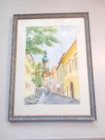 A soproni Tűztorony akvarell festmény