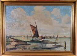J. Heinz Mindermann (1872-1959): Kikötői látkép