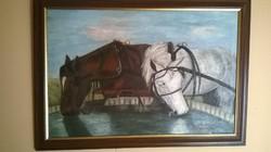 Szomjas lovak olajfestmény.