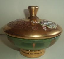 Antik cseh zöld üveg bonbonier Bohemia Hibátlan Csodaszép Domború virágminta