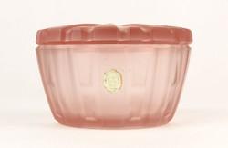 0Q074 Régi cseh art deco rózsaszín üveg bonbonier
