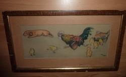 Perpatvar a baromfiudvarban, akvarell jelzéssel, 1952