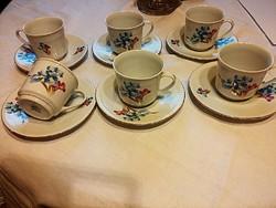 6 személyes porcelán kávés készlet