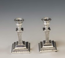 Ezüst kis méretű gyertyarartópár