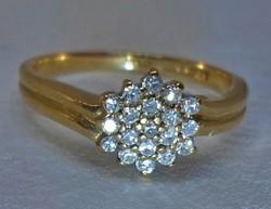 Szépséges antik art deco 0,19ct brill aranygyűrű