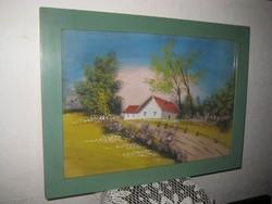 Régi  festett tájkép  olaj-papír  50x35 cm