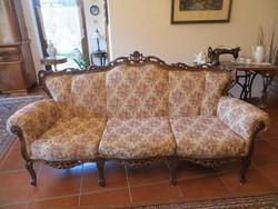 Bécsi barok faragott sofa 205x75x100cm