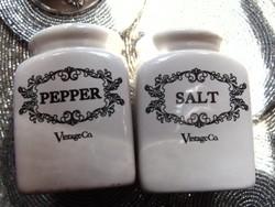 Fajansz só-bors szórók vintage stílusban