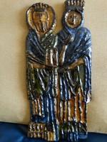 Retro kerámia falidísz, Balczó Edit munkája: Király és királyné, 37 x 17 cm
