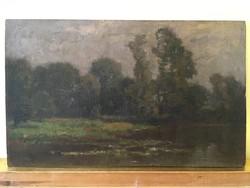 BOSZNAY ISTVÁN(1868-1944) Tájkép, folyó, 25x42