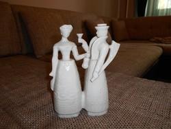 Hollóházi fehér mulatozó páros (különleges)
