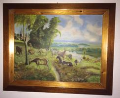 Eladó a képen látható Gergács F. festménye