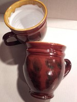2 db Jelzett mázas kerámia köcsög,csupor,pohár,bögre
