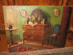 AJÁNDÉK ÁRON ! OZSVÁTH GYULA : ENTERIŐR , Nagyméretű antik festmény