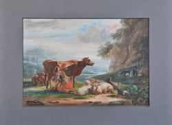 Ismeretlen festő: Parasztlány tehenet fej, gouache, 1859