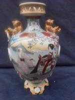 Szecessziós kézi festésű Japán Satsuma váza 19.század vége.NEM UTÁN GYÁRTOTT TÖMEG ÁRÚ.