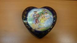 Altwien antik szív alakú bonbonier barokk jelenettel hibátlan