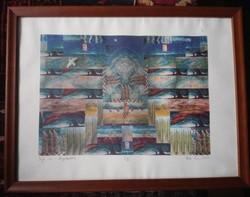 Péreli Zsuzsa sokszorosított grafika 30x42 cm lapméret