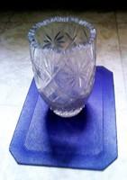 Csiszolt ólom üveg, retró váza, közepes méretű