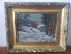 Hangulatos téli tájkép eredeti állapotban eladó !!