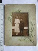 FOTÓ FOTÓGRÁFIA FÉNYKÉP MŰTERMI JELZETT KEMÉNYHÁTÚ GYERMEK TESTVÉR PÁR SZECESSZIÓS PASZPARTOU 1902