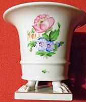 Herendi körmös,virágmintás váza,kézi festett,hibátlan