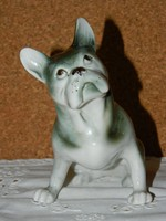 Royal Dux Francia buldog kutya.