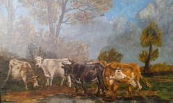 Jelzett, olaj festmény, tájkép, Legelésző tehenek