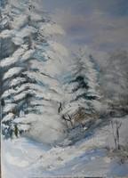 """Licitre várva! 70 X 50 cm-es olajfestmény Szentes Zsuzsanna """"Tél"""""""