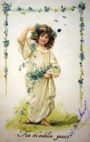 Antik tavaszi hangulatú kisleányos francia litho képeslap